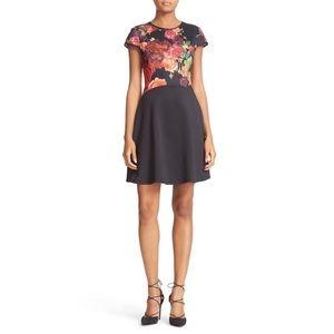 Ted Baker Xylee Juxtapose Rose Skater Dress Black